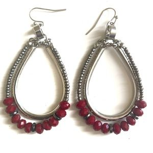 Jessica Simpson | Silver earrings with red beads